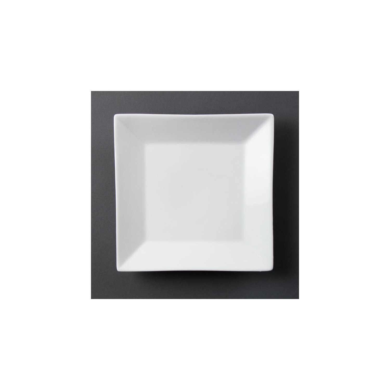 Lot de 6 Assiettes porcelaine carrée blanche 25cm OLYMPIA Assiettes