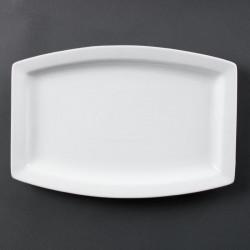 Lot de 6 Assiettes porcelaine rectangulaire blanche 32cm OLYMPIA Assiettes