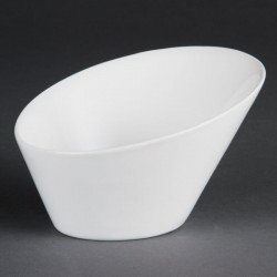 Lot de 4 bols L 133 x H 90 x P 154 mm - ovales / inclinés - porcelaine OLYMPIA Collection Whiteware