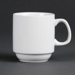 Lot de 12 tasses 284 ml - empilables - porcelaine OLYMPIA Collection Whiteware
