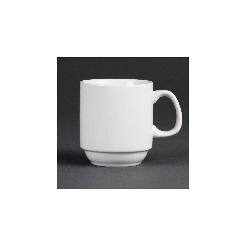 Lot de 12 tasses 284 ml - empilables - porcelaine OLYMPIA Collection Whiteware