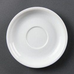 Lot de 12 soucoupes Ø 160 mm - pour tasses à cappuccino - porcelaine OLYMPIA Collection Whiteware