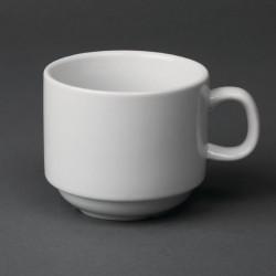 Lot de 12 tasses 200 ml - à thé empilable - porcelaine OLYMPIA Collection Whiteware