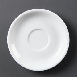 Lot de 12 soucoupes pour tasses à cappuccino - porcelaine OLYMPIA Collection Whiteware