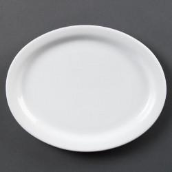 Lot de 6 assiettes L 250 x P 198 mm - ovales - porcelaine OLYMPIA Collection Whiteware