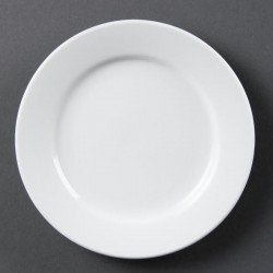 Lot de 12 assiettes Ø 165 mm - à bord large - porcelaine OLYMPIA Collection Whiteware