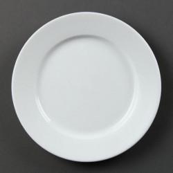 Lot de 12 assiettes Ø 202 mm - à bord large - porcelaine OLYMPIA Collection Whiteware