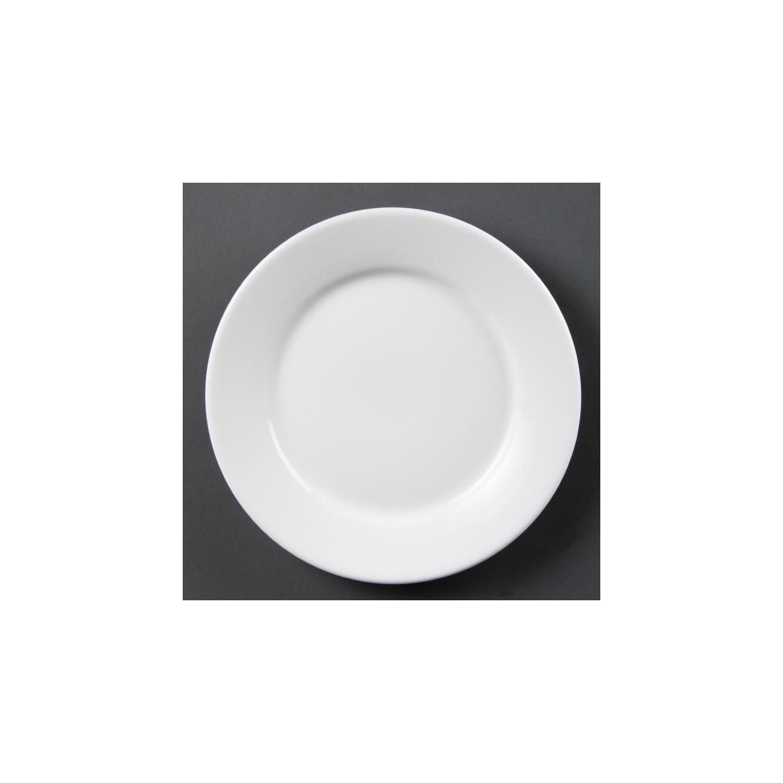 Lot de 12 assiettes Ø 230 mm - à bord large - porcelaine OLYMPIA Collection Whiteware