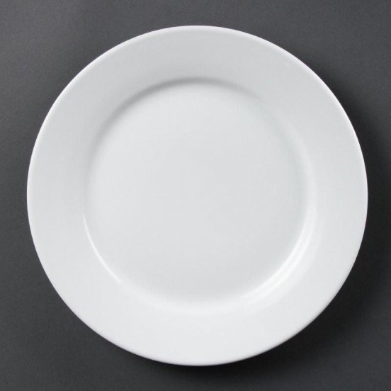 Lot de 12 assiettes Ø 250 mm - à bord large - porcelaine OLYMPIA Collection Whiteware