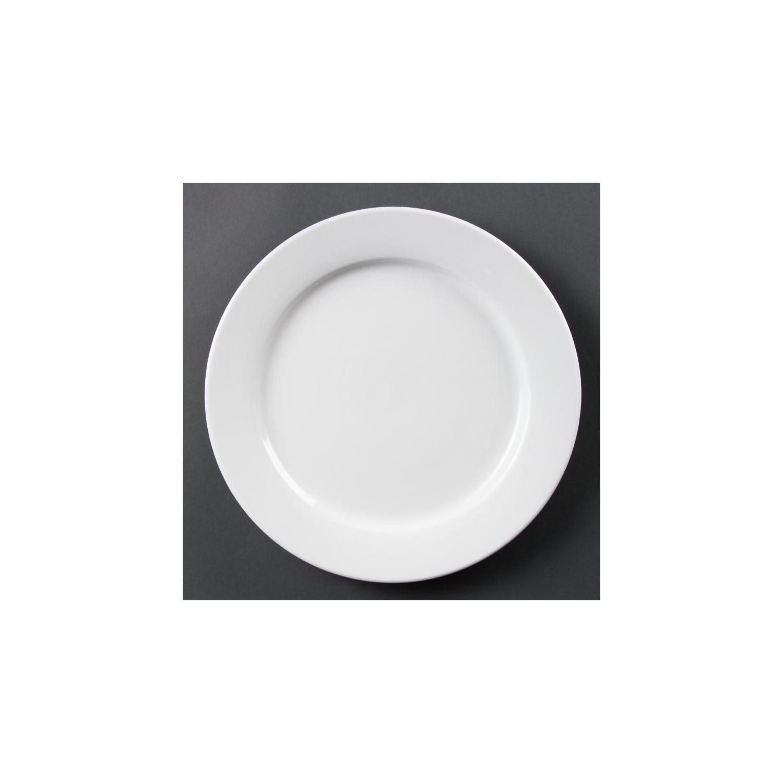 Lot de 6 assiettes Ø 280 mm - à bord large - porcelaine OLYMPIA Collection Whiteware