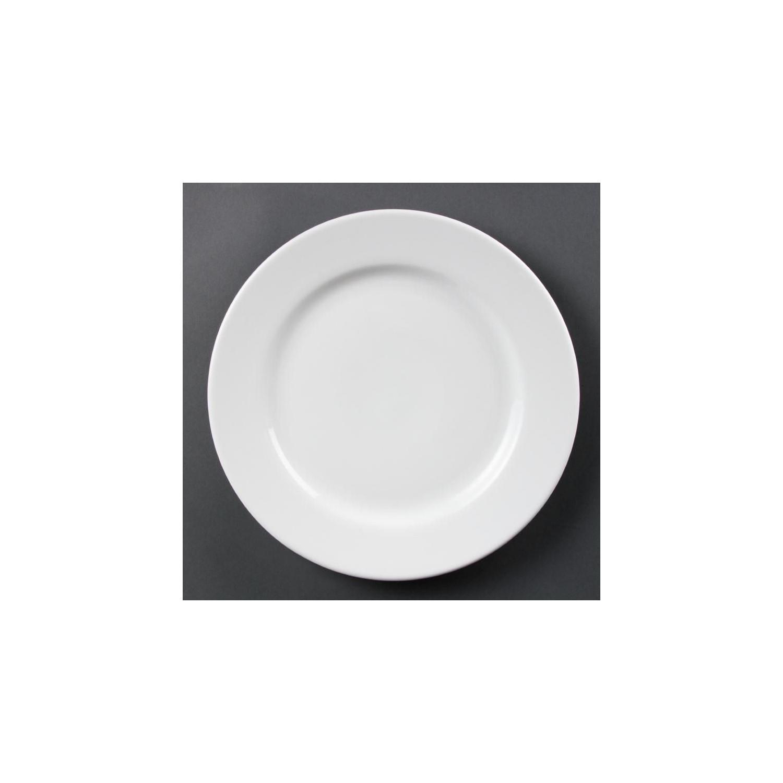 Lot de 6 assiettes Ø 310 mm - à bord large - porcelaine OLYMPIA Collection Whiteware