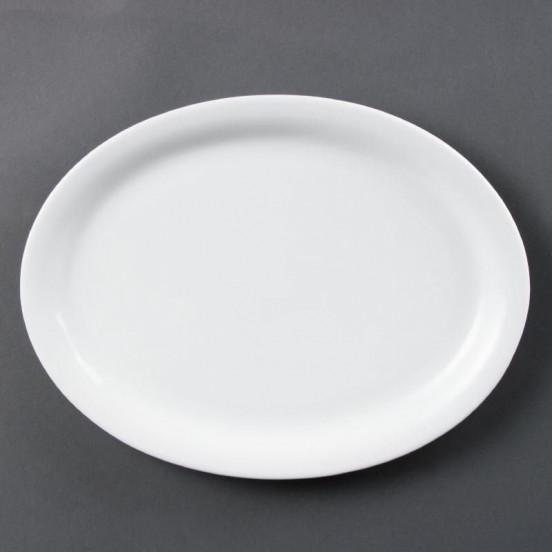 Lot de 6 assiettes L 164 x P 204 mm - ovales - porcelaine OLYMPIA Collection Whiteware