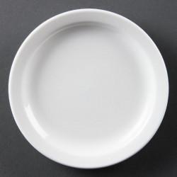 Lot de 12 assiettes Ø 150 mm - à bord étroit - porcelaine OLYMPIA Collection Whiteware