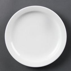 Lot de 12 assiettes Ø 202 mm - à bord étroit - porcelaine OLYMPIA Collection Whiteware