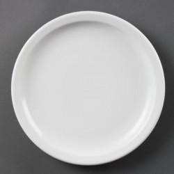 Lot de 12 assiettes Ø 230 mm - à bord étroit - porcelaine OLYMPIA Collection Whiteware