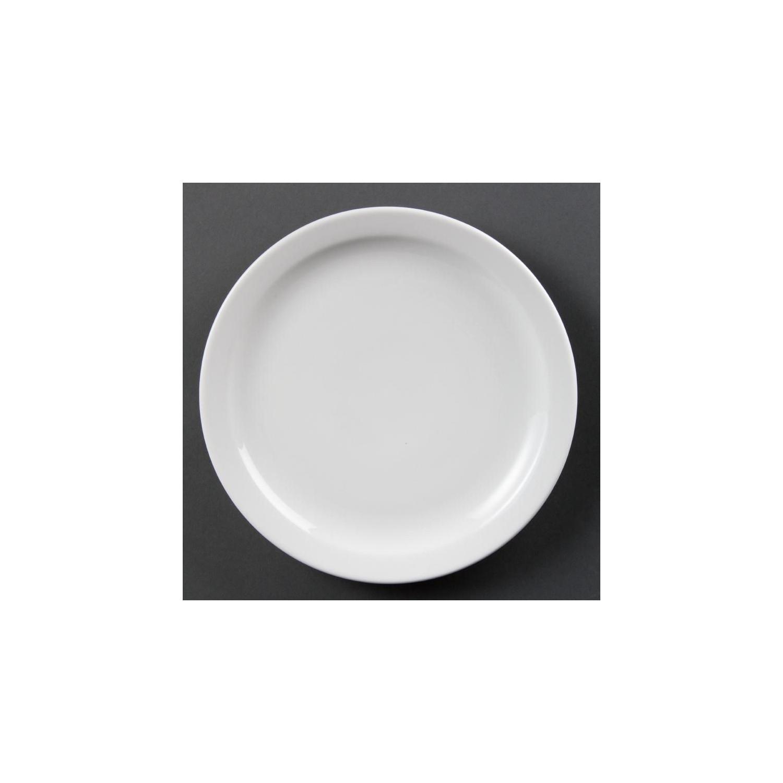 Lot de 12 assiettes Ø 250 mm - à bord étroit - porcelaine OLYMPIA Collection Whiteware