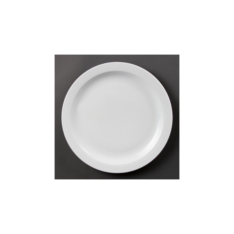 Lot de 6 assiettes Ø 280 mm - à bord étroit - porcelaine OLYMPIA Collection Whiteware