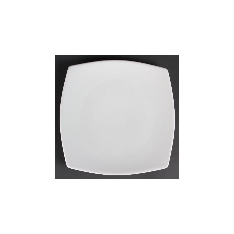 Lot de 6 assiettes Ø 270 mm - carrées / arrondies - porcelaine OLYMPIA Collection Whiteware