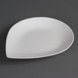 Lot de 6 assiettes L 255 x P 207 mm - goutte d'eau - porcelaine OLYMPIA Collection Whiteware
