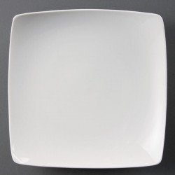Lot de 4 assiettes Ø 250 mm - creuses / carrées - porcelaine OLYMPIA Collection Whiteware