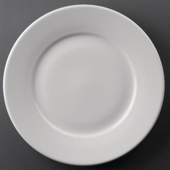 Lot de 12 assiettes Ø 254 mm - à bord large - porcelaine - Hotelware ATHENA HOTELWARE Charlotte - création produits en attente