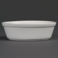 Lot de 6 plats à gratin L 161 x P 116 mm - ovales - porcelaine OLYMPIA Collection Whiteware