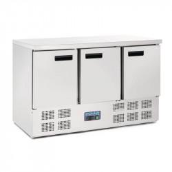 Table réfrigérée 368 litres, P 700 mm, 3 portes inox POLAR Tables et soubassements