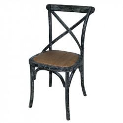 Lot de 2 Chaises en bois, dossier croisé, noir patine, Bolero BOLERO Chaises