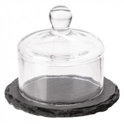 Plateau en ardoise avec cloche en verre 80(H)x105(Ø)mm APS Plateaux de service