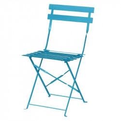 Lot de 2 Chaises de terrasse en acier, bleu turquoise, Bolero BOLERO Chaises