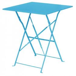 Table de terrasse carrée 600 mm, en acier, bleu turquoise, Bolero BOLERO Tables
