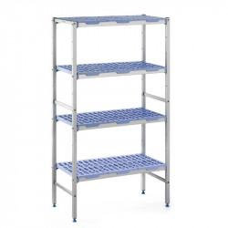 Rayonnage modulaire 4 niveaux, H 1750 x P 400 x L 1292 mm, aluminium & polypropylène, TOURNUS TOURNUS Accessoires et pièces d...