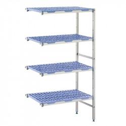 Rayonnage modulaire en angle 4 niveaux, H 1750 x P 400 x L 849 mm, aluminium & polypropylène, TOURNUS TOURNUS Accessoires et ...