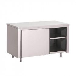 Table armoire, portes coulissantes, inox GASTRO M Tables sur placard
