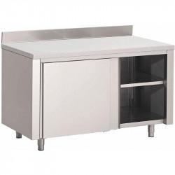 Table armoire, portes coulissantes + dosseret, inox GASTRO M Tables sur placard